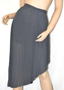 ZARA Collection Size 10 Cute Grey Sheer Pleated Lined Asymmetrical Skirt CLEAN
