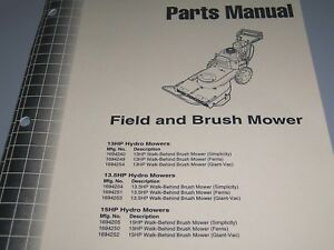 Details about FERRIS Parts Manual * Field and Brush Mower 13 HP, 13 5 HP,  15 HP Hydro Mowers