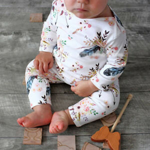 a2f715e6089d Details about Infant Baby Boys Girls Romper Jumpsuit Flower Print Long  Sleeve Pajamas Sleeper