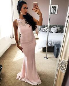Womans-Nude-Pink-Chiffon-Sweetheart-Neck-Maxi-Dress-Ladies-Evening-Bridesmaid