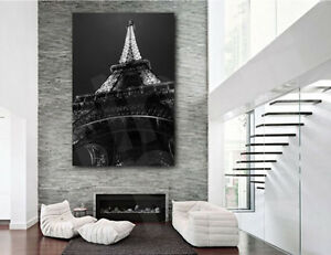 Eiffel tower paris france black and white canvas art for Eiffel tower wall mural black and white