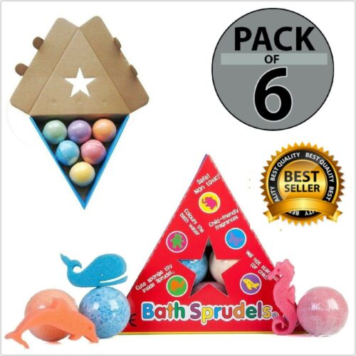6 PACK Bath Sprudels Colour Bombs With Toy Inside Children Kid Activity Games