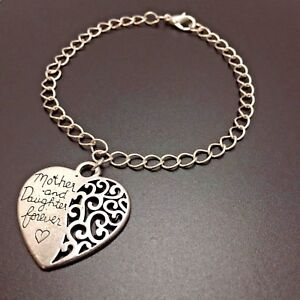 Image Is Loading Mother Daughter Heart Charm Bracelet Sterling Silver Chain