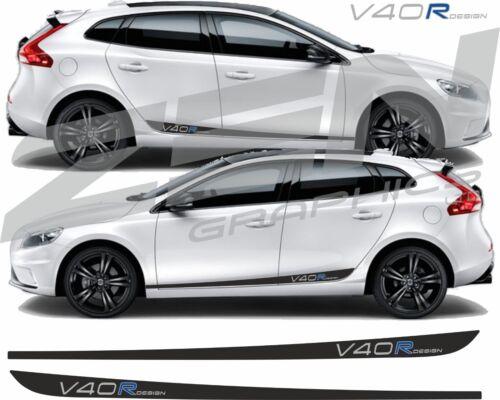 Volvo V40 R Design Side Stripes decals autocollants Qualité Fit toute couleur hexis