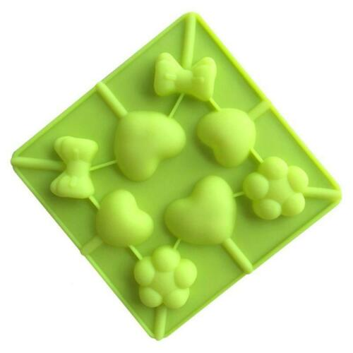 8 Cavity Heart Flower Silicone Lollipop Baking Cookie Mold Chocolate Cake Decor