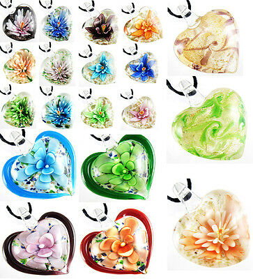 Women Colorful Flowery Lampwork Murano Glass Heart Pendant Necklace + Free Cord