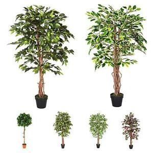 Green Artificial Ficus Tree 4 Ft And 6 Ft Variegated Topiary Plant With Pot Ebay