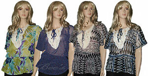 BNWT-Ladies-Sheer-Summer-Blouse-Womens-Top-Size-10-12-14-16-Crocheted-Lace