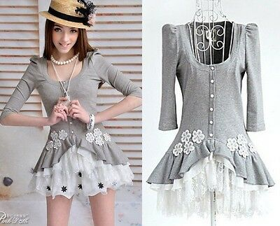 TRENDY Lolita Dolly Kawaii Sweet Princess Cute Flowers Lace Gray Shirt Top S~XL