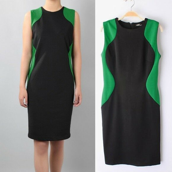Women's Pencil Dress Shaper Optical Illusion slimming Stretch Business Party e