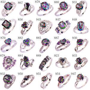 Rainbow-White-Topaz-Jewelry-Women-Nice-Gems-Silver-Ring-Size-6-7-8-9-10-11-12-13