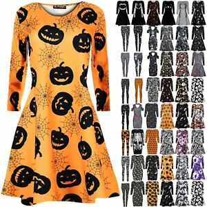 Womens-Ladies-Spooky-Full-Sleeve-Halloween-Skull-Cats-Skull-Party-Swing-Dress