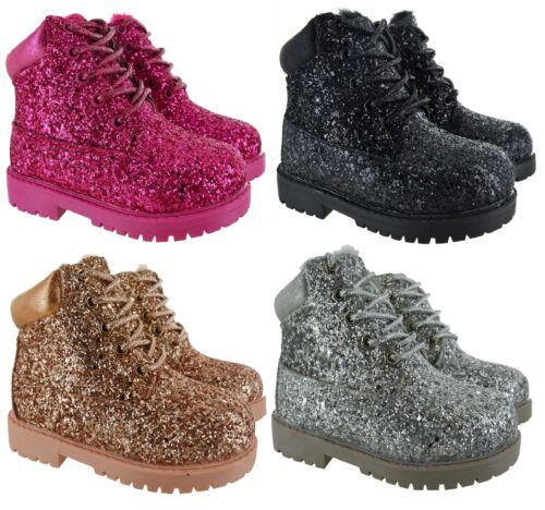 Ragazze Bambini alla caviglia glitter Caldi Invernali in Pelliccia Sintetica Comode Scarpe Stivali