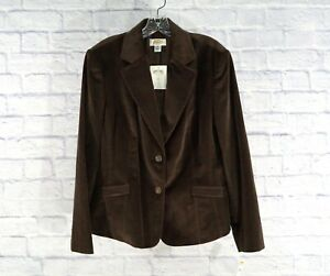 NWT-TALBOTS-Women-039-s-Blazer-Button-Brown-Velvet-Cotton-Silk-Jacket-Size-14