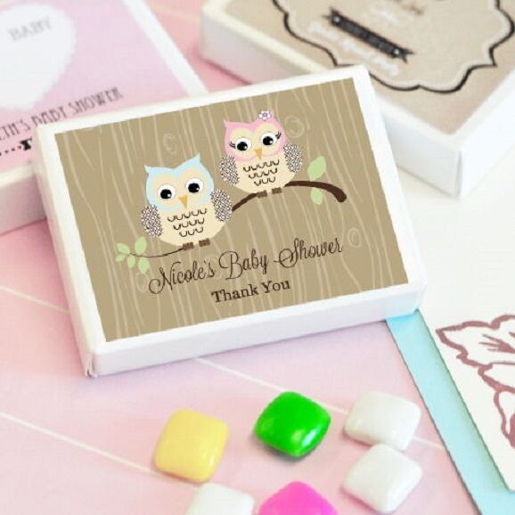 24 Personalized Woodland Owl Theme Gum Boxes Baby Shower Favors