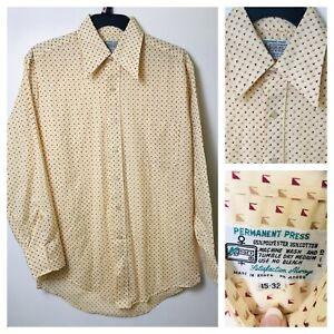 VTG-60s-70s-Kmart-Damenhemd-Permanent-Press-Disco-Groovy-Big-Kragen-Herren-Med
