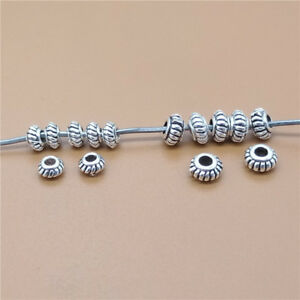 20-Sterling-Silver-Small-Gear-Beads-925-Silver-Bracelet-Spacer-Beads