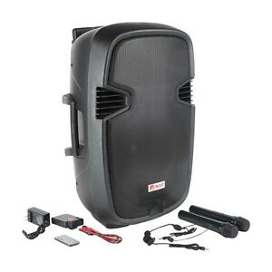 15 bluetooth rechargeable pa dj party speaker karaoke 4 mics wireless remote. Black Bedroom Furniture Sets. Home Design Ideas