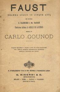 Faust. Dramma lirico in 5 atti dei signori J. Barbier e M. Carré. Traduzine i...
