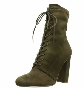 b0df95fd7c4 Details about Steve Madden Womens Elley Lace-Up Block-Heel Booties (Olive,  6M)