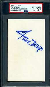 Willie Mays PSA DNA Coa Autograph Hand Signed 3x5 Index Card