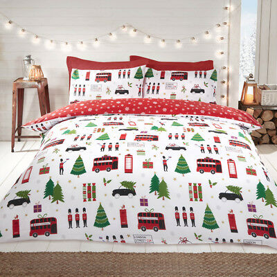 London Christmas Collage Reversible Duvet Quilt Cover Bedding Set + Pillowcases