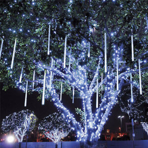 new style 4668e 95864 Details about 8 Falling Rain Drop Meteor Shower Outdoor Cascading Decor  Xmas Fairy Lights 31V