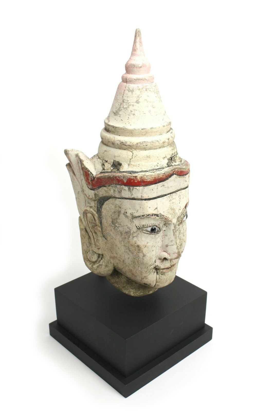 Antique Burmese painted teak puppet head, Burma 1  Genuine 19th Century; 51cm