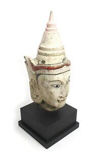 Antique Birman Peint Teck Marionette Tête,burma 1 : Véritable 19th Siècle ; 51cm