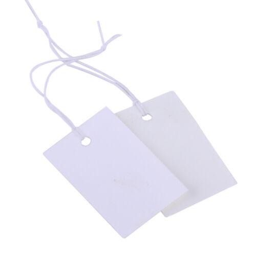 100x Hängeetiketten Preisschild Weiß Preisetiketten Etiketten Gummiband willya