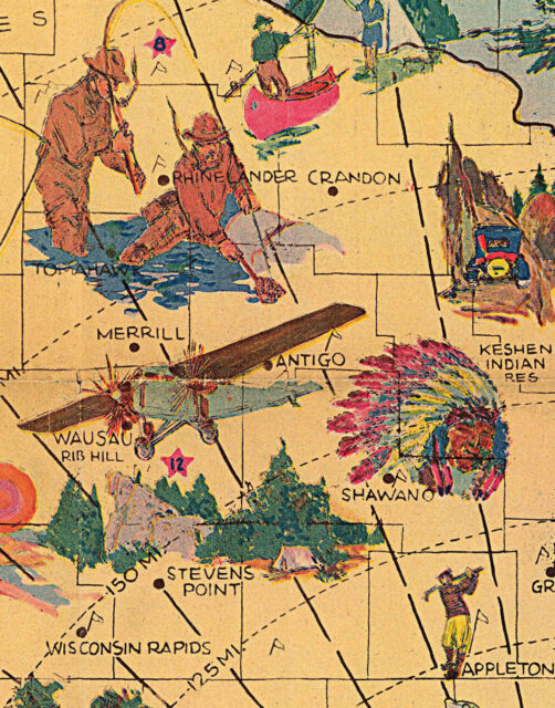 1920 Pictorial Map Wisconsin the Playground of the Middle East Wall Art Poster