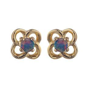 Details About 14kt Gold Black Opal Love Knot Stud Earrings