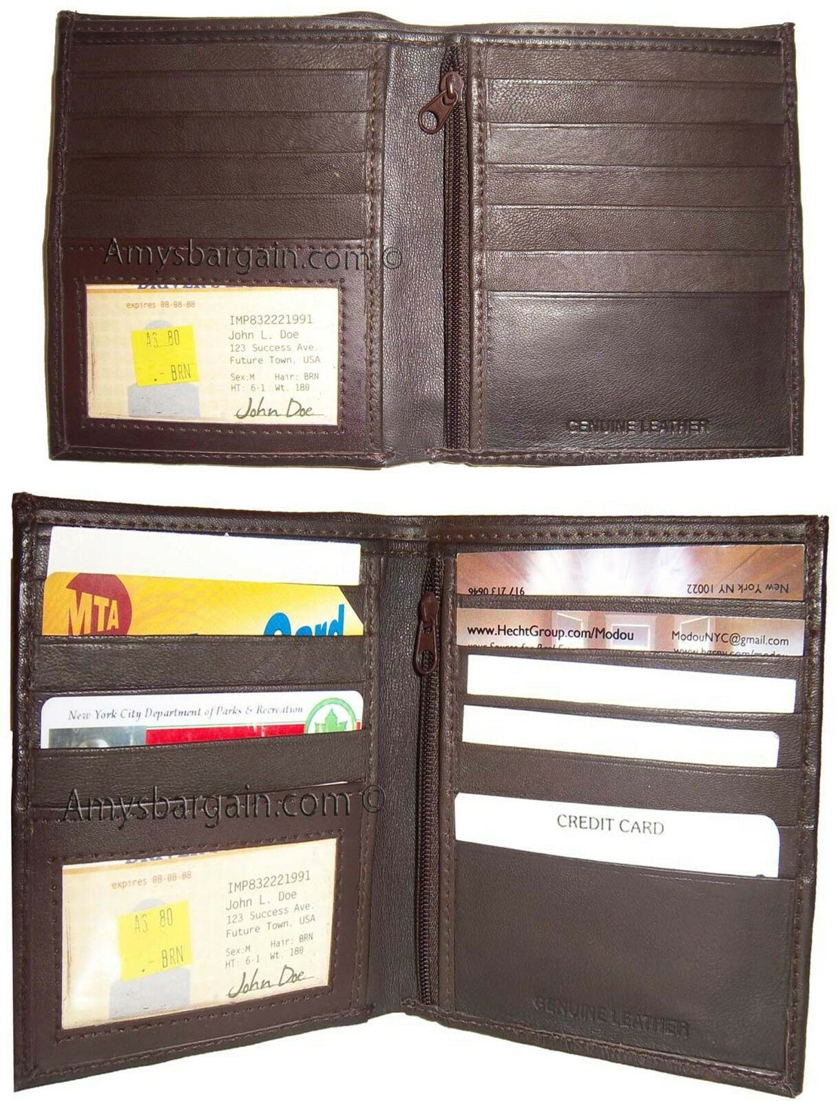 Lot of 2 Leather Hipster wallet billfold brown bifold zip coin purse wallet BN.