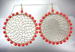 CHIC-Urban-Artisanal-Red-Coral-Beads-Gold-Honeycomb-Wire-Chandelier-Earrings