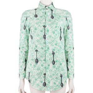 Julien-David-White-Green-Pixelated-Spoon-Print-Slim-Fit-Shirt-Blouse-S-UK8