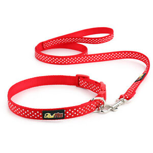 Red-Polka-Dot-Dog-Collar-and-Matching-Lead-Set-Puppy-and-Dog
