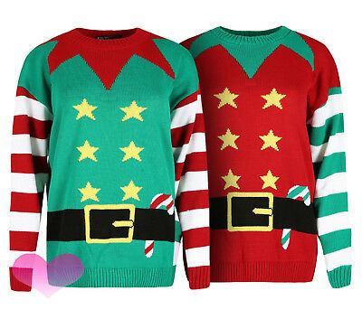 XXL. Womens Mens Ladies Xmas Christmas Jumper Novelty Elf Crew Neck Sweater S