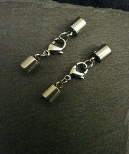 2 Juegos De Acero Inoxidable casquillos de extremo consejos para 5.5mm Cable con 13mm Langosta Broche