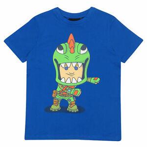 Boys Fortnite T Shirt Flossing Rex Official Blue