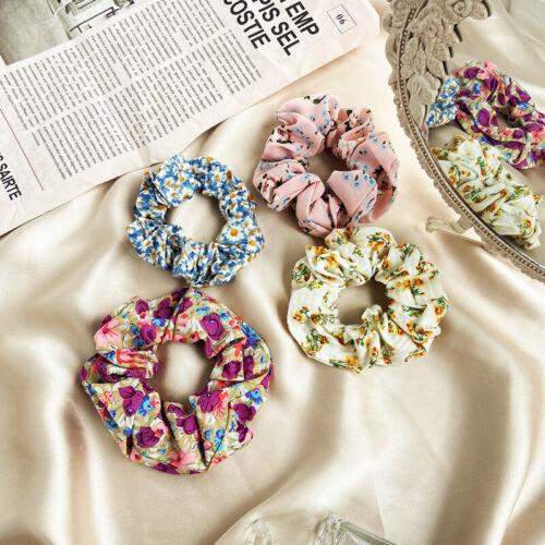Women Floral Hair Scrunchies Bun RIng Ponytail Holder Elastic Hair Ties Bands