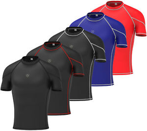 Mens-Compression-Armour-Base-Layer-Top-Half-Sleeve-Thermal-Gym-Sports-Shirt