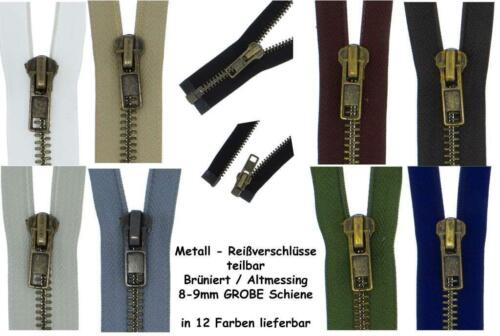 Cremalleras metálicas de cremallera MBG metal latón cuero fuerte grueso 8 mm