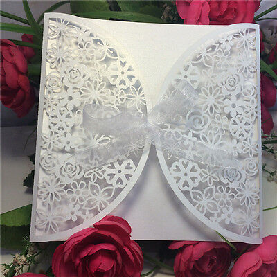 12 White Laser Cut Personalised Wedding Day Evening Invitations Free Envelopes