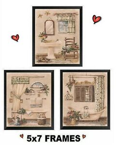 Victorian Pictures Yellow Paris Bathroom Wall Hangings Old Sink Tub Plaques Bath