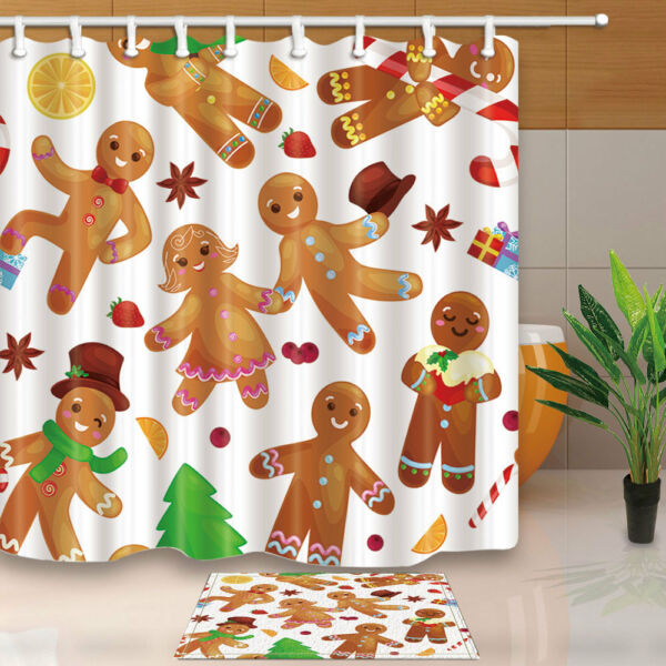 Christmas Cookies Gingerbread Man And Girl Shower Curtain Bathroom With 12hooks Hover To Zoom