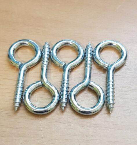 Vis Oeil Crochets Heavy Duty Acier Zinc Plaqué 45 mm 5 Pack