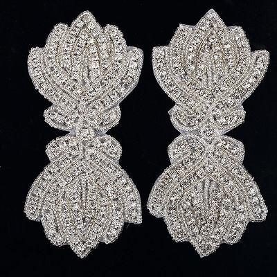 DM8 Gorgeous Iron On Sew On Diamante Crystal Beaded Motif Wedding Applique Patch