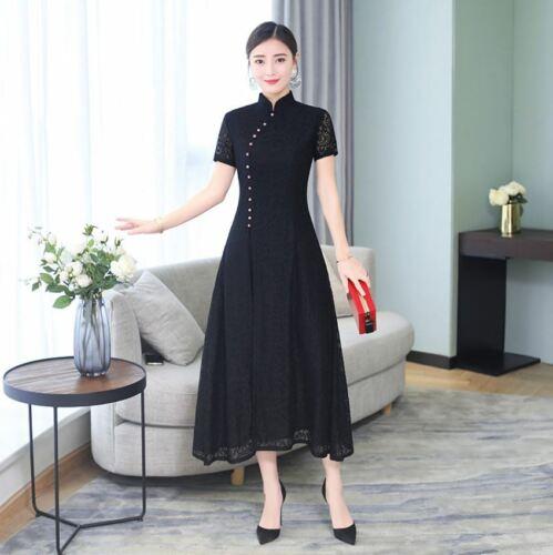 New Luxurious Elegant Black Lace Chinese Long Dress Cheongsam Qipao lcdress77