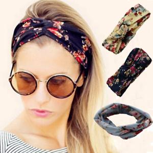 Ladies-twist-knot-pattern-headband-elastic-head-wrap-turban-hair-band-flower-Hot
