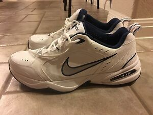 5baac596be1bee NIKE AIR MONARCH IV Mens White Silver Navy 102 Lace Up Running ...